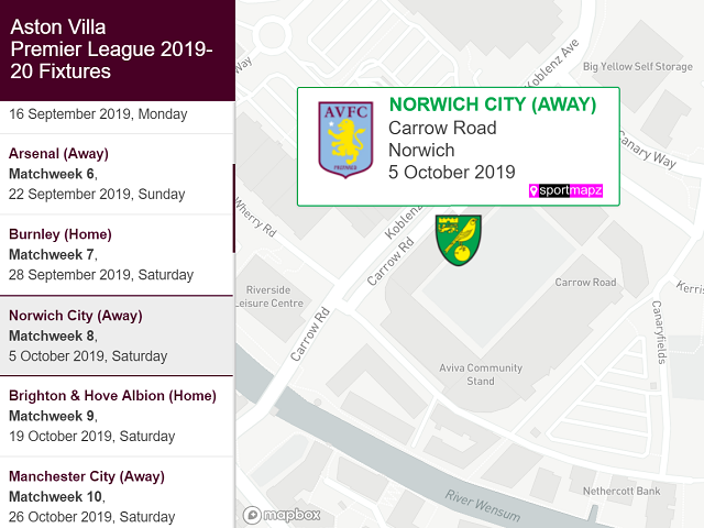Aston Villa Premier League 2019 20 Fixtures Geocadder
